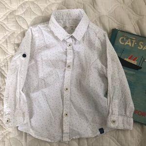 Zara Baby Boy polka dot button down shirt 18/24m